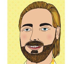 Bearded Man Card - Yellow