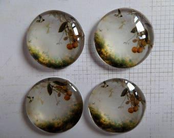 Set of 4 25 mm orange round glass cabochons