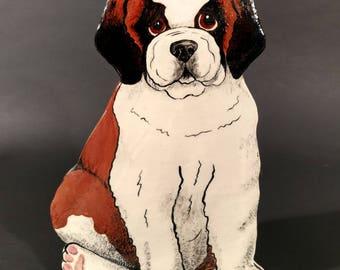 Vintage Original St Bernard Puppy Vase by Nina Lyman of Dogs By Nina