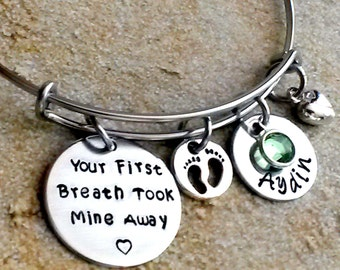 Personalized Bangle Bracelet, Your First Breath Took Mine Away, Charm Bracelet, New Mom Gift, New Baby Bracelet, Name Bracelet, Gift for her