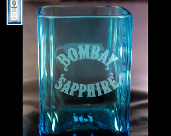 Bombay Sapphire Gin Premium Rocks Glass, Anniversary Gift, Birthday Gift, Father's Day Gift, Mother's Day Gift, Wedding Gift