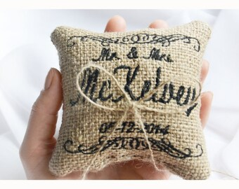 Personalized Burlap Wedding ring pillow , MR & MRS wedding pillow , ring pillow, ring bearer pillow with Custom embroidery (LR10)