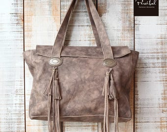 Leather fringe purse Hobo bag Leather bag Handmade handbag Bohemian bag Leather tote Bag leather Soft leather tote Tote bag with pockets