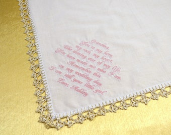 Grandmother Wedding Gift for Grandparents wedding handkerchief for Grandma Gift Great Grandma gift perdonalized Grandfather Gift first time