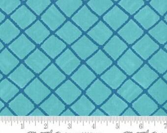 Turquoise Fish Net Look Twill Fabric, Cotton Home Decor Fabric, Moda Seascapes 19614 15T, Deb Strain, Nautical Fabric, Light Weight Twill