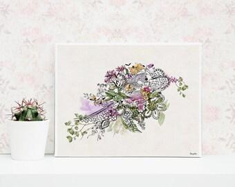 Bird Art Print, Decorative Wall Hanging, Bird Prints, Art Bird Poster, Green and Purple Watercolor Print, Art Poster
