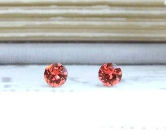 Coral Stud Earrings 4mm Earrings Orange Stud Earrings Orange Crystal Studs Tiny Stud Earrings Surgical Steel