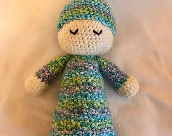 """Sleepyhead baby doll 17"""" Amigurumi infant toy blues pinks yellows"""