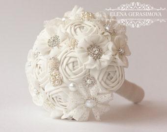 Fabric Bouquet, Vintage Bouquet, Rustic Bouquet, Wedding Bouquet,Rhinestone Bouquet, ivory Unique Bridal Bouquet