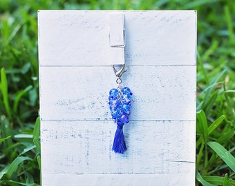 Blue Tassel Beaded Key Fob