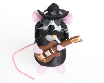 Lemmy Mouse - LIMITED EDITION Motörhead Heavy Metal Rock and Roll inspired collectable Music art rat artists mice felt mouse sculpture