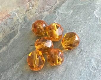 25 Dark Topaz Firepolished Czech Glass Round Beads 6mm