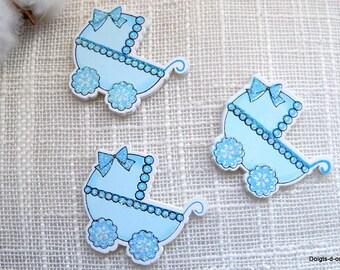 Set of 5 small landaux blue painted wood