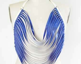 Royal Blue and White Body Necklace Vegan Leather and Sequin