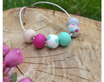 Spring beaded polymerclay necklace - turquoise