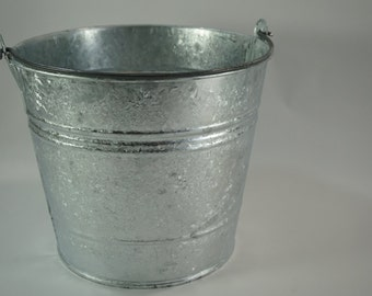 Galvanized Bucket, New Metal Bucket with Handle, Garden Carry All, #12, Feed Bucket, Water Bucket, Storage Pail - Holiday Decor, Free Ship