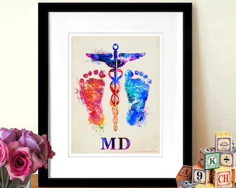 "Neonatologist, MD logo - Caduceus - Watercolor, baby feet print, 8.5""x11"", Registered Nurse Gift, Neonatology, Pediatric print, NICU gift"