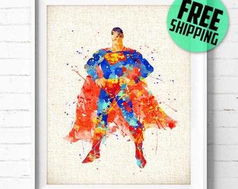 Superman Print, Justice League Print, Superhero Poster, DC Comic Print, Superman art print Watercolor Painting, Wall Art Home Decor, 148