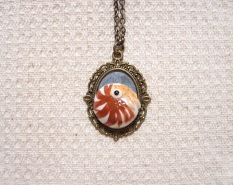 ooak Hand-made Nautilus necklace