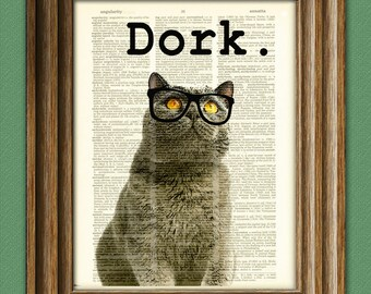 The Dork Cat in black glasses illustration beautifully upcycled dictionary page book art print