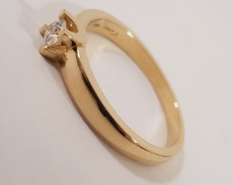 Engagement ring 14 karat gold. Handmade diamond ring unique style by Cober. Free shipping!