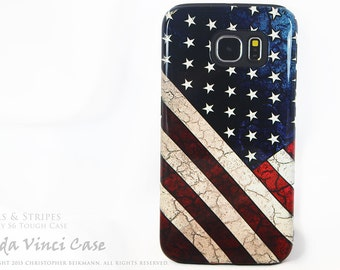 American Flag Galaxy S6 Case - Stars & Stripes - TOUGH dual layer S 6 Case with Vintage US Flag Art