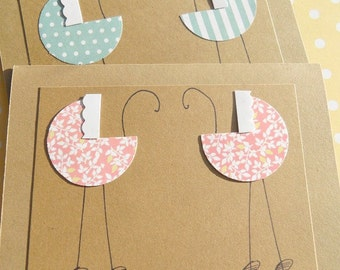 Cards for Twin Girls, Card for Twin Boys, Welcome Twins Cards, Baby Buggy Cards - Twins Thank You Cards GBBC