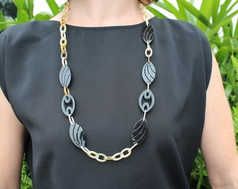 """Long Chain Necklace, Long Necklace, Chain Necklace, Horn Necklace, Chain Link Necklace, Black and White Necklace, 31"""" length"""