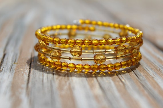 Golden Bracelet, Thick Amber Beaded Bracelet, Chunky Golden Yellow Wrap Bracelet, Amber Memory Wire