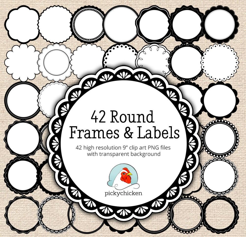 Circle frames clip art 42 black & white digital borders
