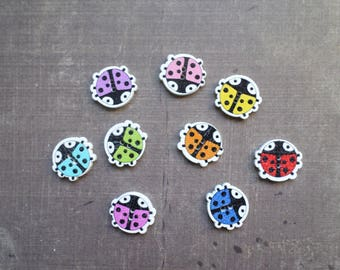20 wooden buttons as pet Ladybug mix colors