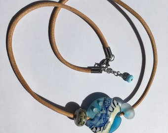 Necklace lampwork / Lentil bead/ Necklace summer style