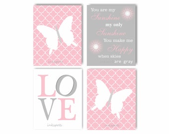Butterfly Wall Art You Are My Sunshine Baby Girl Nursery Art Pink Nursery Wall Decor Butterfly Prints Love Art Print Girl Baby Shower BF2614