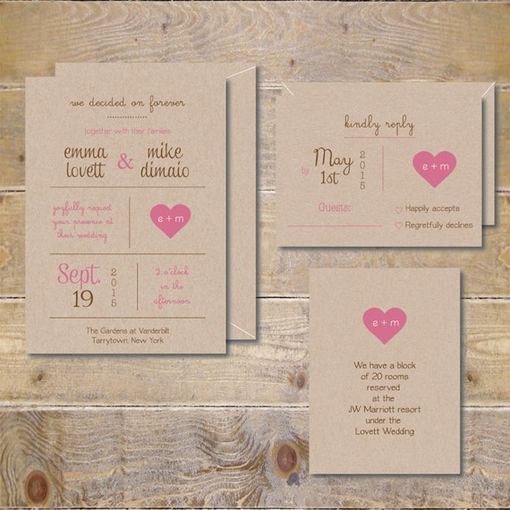 Outdoor Themed Wedding Invitations: Items Similar To Printable Wedding Invitations . DIY