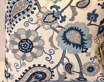 Jacobean Floral Pillow Blue White Flowers Home Decor