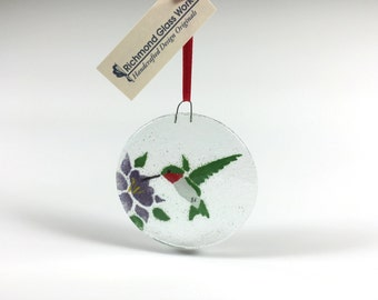 Hummingbird Ornament, Fused Glass, Humming Bird, Bird Ornament, Birds, Glass Ornament, Christmas Ornament