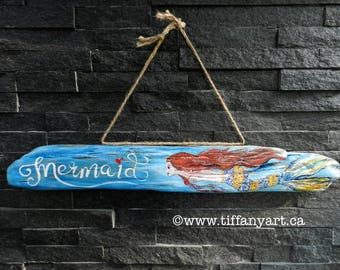 Mermaid, mermaid sign, mermaid decor, driftwood art,painted driftwood,mermaid wall decor,mermaid painting,mermaid gifts,mermaid wall hanging