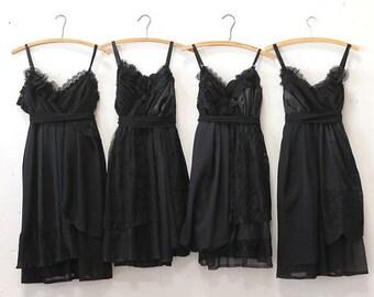 Custom Black Bridesmaids Dresses