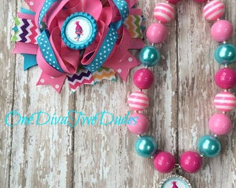 Trolls Poppy hair bow chunky necklace set