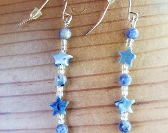 "1 1/2"" Laps Lazuli and Denim Lapis Earrings"