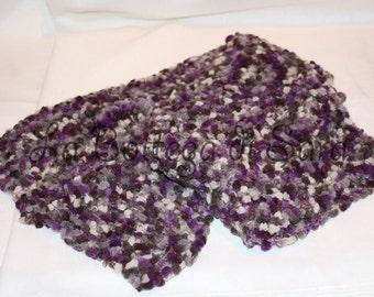 Purple/grey chenille scarf
