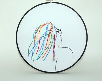 Rainbow-haired girl in sunglasses - embroidered portrait wall hanging