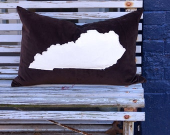 Kentucky State pillow - down fill - lumbar - appliqué - brown velvet - studio - maker - custom quote