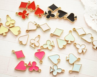4 pcs Gold Suit Playing Card Charm (10mm) AZ743