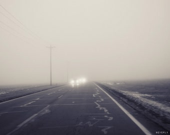 fog, lights,  black and white, fine art photography