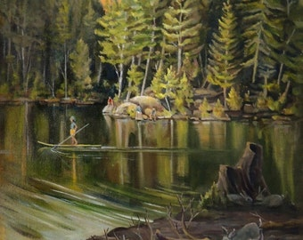 Things Are Hopping On Mirror Lake Oil Landscape Painting