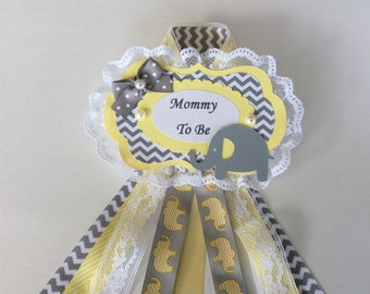 Elephant baby shower corsage/Neutral baby shower corsage/Neutral elephant baby shower corsage/Yellow and grey chevron baby shower corsage