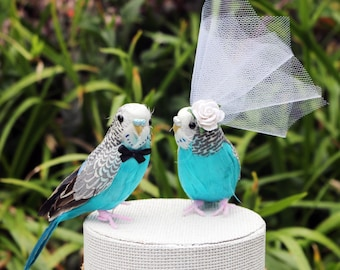 Blue Budgie Wedding Cake Topper: Bride & Groom Cake Topper in Teal and White - Budgerigar / Parrot