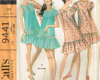 flounce nightgown, robe with puff sleeve sewing pattern for women misses and juniors size large 13-14 Bust 35-36 vintage 1960s 9441 McCalls