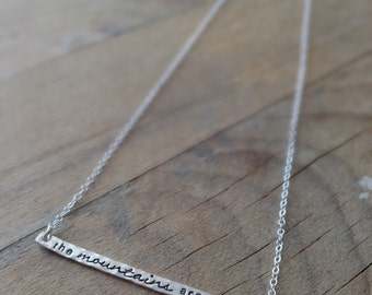 the MOUNTAINS are calling - Hand Stamped Thin Bar - Sterling Silver Layering Necklace - Nature Jewelry - Mountain Necklace - Minimalist Boho